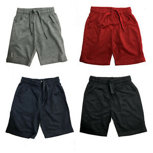 Boys-Kids-Plain-Shorts-Fleece-PE-School-Summer-Gym-Sports-Grey-Navy-Red-Black