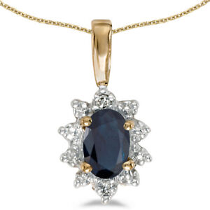10k-Yellow-Gold-Oval-Sapphire-And-Diamond-Pendant-with-18-034-Chain