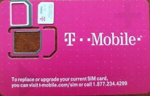 T-Mobile 4G 5G LTE FACTORY NANO Sim Card., NEW SIM 3IN 1, Reg, Micro, Nano