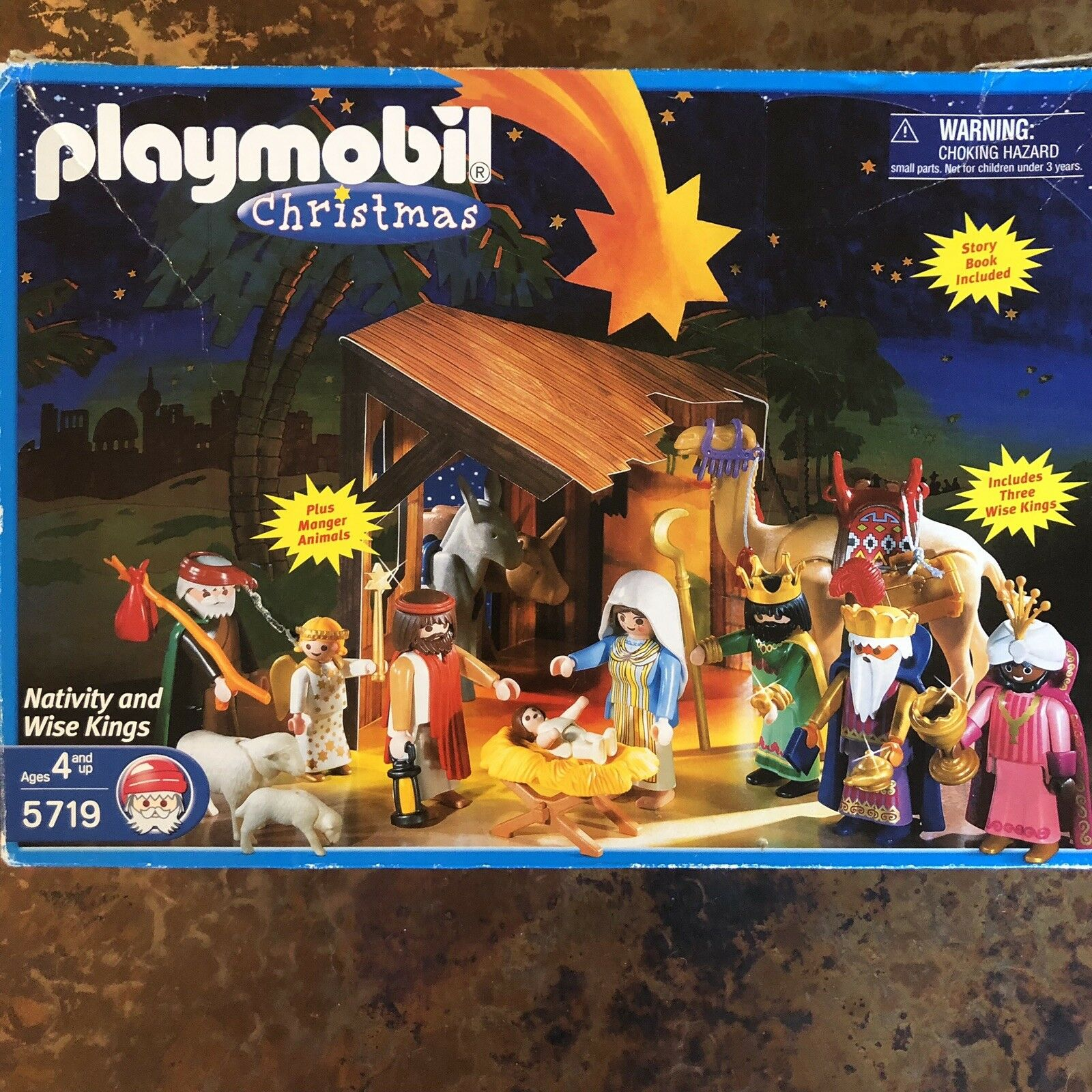 2002 PLAYMOBIL CHRISTMAS NATIVITY AND WISE MEN KINGS SET WITH BOX
