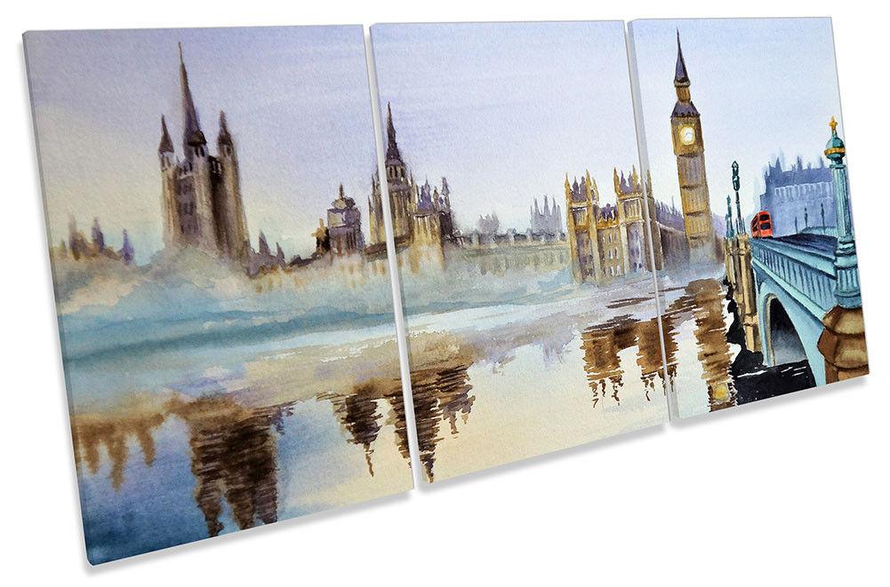 Big Ben London Watercolour Repro Framed CANVAS PRINT TREBLE Wall Art