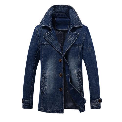 New Men Vintage Western Trucker Denim Jeans Jacket Trench Coat UK XS-XL