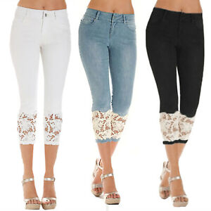 Womens-Stretchy-Lace-Denim-Skinny-Slim-Capri-Pants-Jeans-Cropped-Casual-Trousers