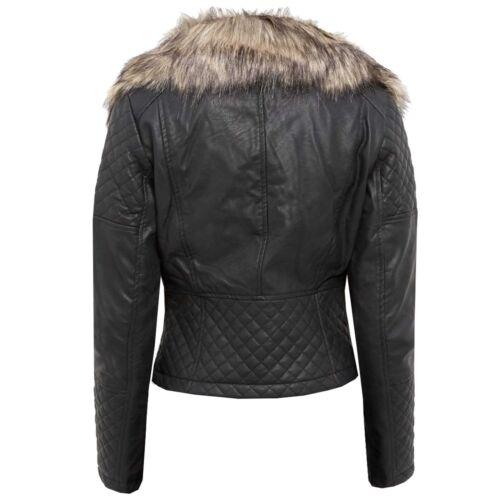 Black lederen beige Gewatteerde dames 70s look Nieuwe jassen Womens bontkraag met Pu Pvc Faux Biker pEOSqzw