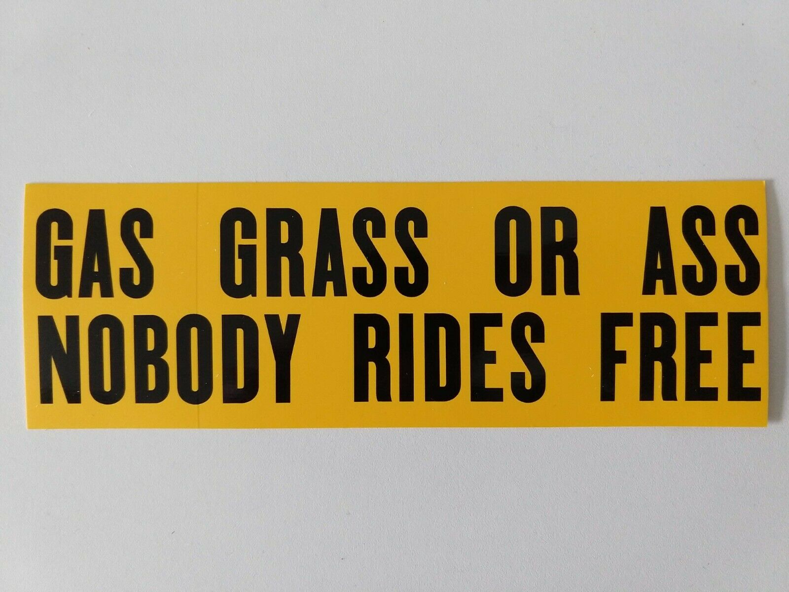 OR Grass Nobody Rides For Free 10 x 3 Bumper Sticker Ass Gas