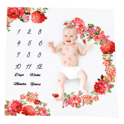 Newborn Infant Baby Infants Milestone Blanket Mat Photography Prop Girl Boy