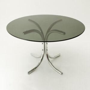 Tavolo rotondo con piano in vetro anni 70, mid century round table ...