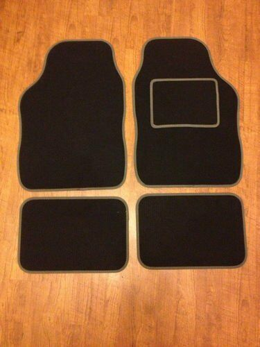 UNIVERSAL CAR FLOOR MATS BLACK WITH GREY TRIM FOR FIAT 500 500L 500X BRAVO