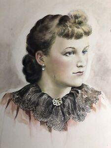 ANTIQUE-Woman-PAINTING-WATERCOLOR-Portrait-of-a-lady-Vintage-GORGEOUS-Mackenzie