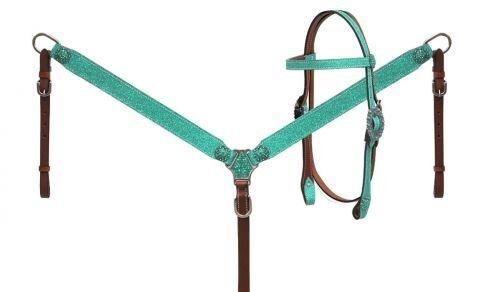 Neuf Horse Tack!!! SHOWMAN Teal Glitter OVERLAY CUIR éperons /& sein COLLIER