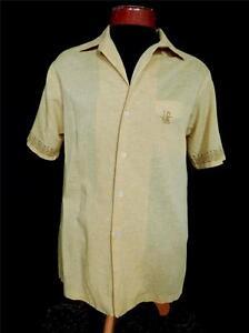 142b3e1b3c2c VINTAGE 1960'S IOLANI COTTON POLY MUSTARD YELLOW HAWAIIAN SHIRT SIZE ...