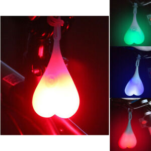 Silicone Bike Bicycle Back Rear Tail Cycling Red LED Light Heart Ball Egg Lamp
