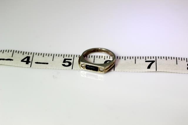 Vintage Sterling Silver .05TCW Diamond & Onyx Ban… - image 5