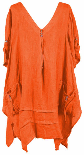 Womens Italian Lagenlook Quirky 3 Button V Neck Plain Linen Plus Size Tunic Top
