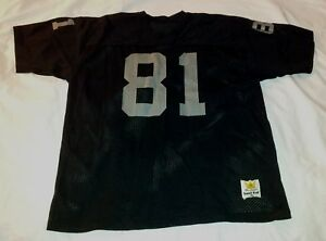size 40 8fb36 7b16f Details about Vintage Los Angeles Oakland Raiders #81 Tim Brown Sand Knit  Throwback Jersey XL