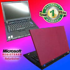 Fast Windows 7 Lenovo Red Widescreen Laptop Core 2 Duo 3.6 Ghz 2Gb Office Wifi