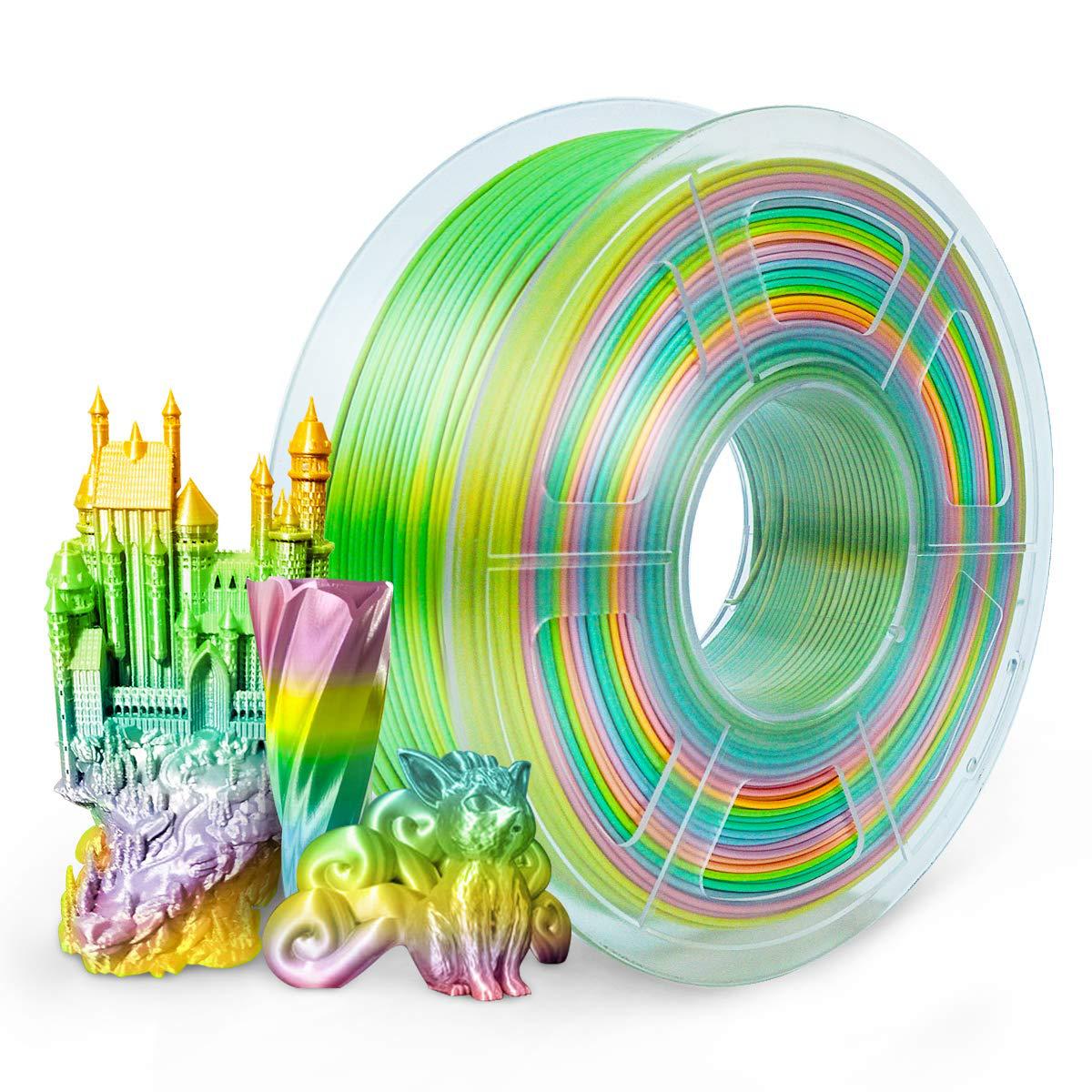 PLA Filament 1.75mm Silk Rainbow Multicolor, SUNLU Multicolor Filament PLA 1.75m