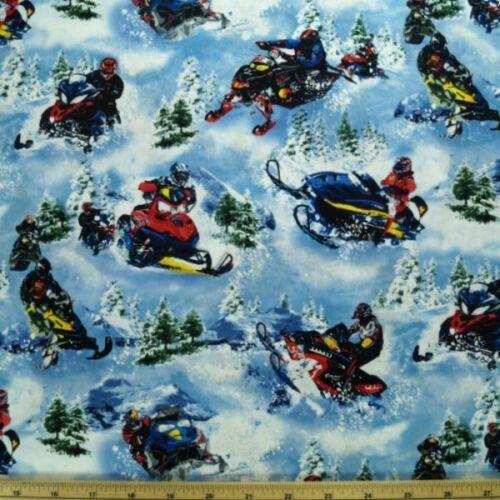 Snowmobile Dashing Through The Snow 100/% Cotton Fabric A