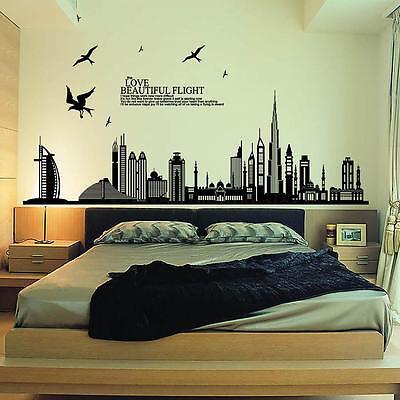 Home Decor Modern City Skyline Silhouette Removable Wall Sticker Art Decal Mural