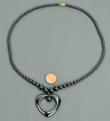 Schraubverschluss ca Halskette Kette Hämatit Herz verlaufend 45cm