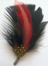 2 Color - Black & Red - Hat Band Feather Hatband Feathers - Classic Fedora Trim