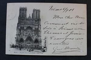 Tarjeta-postal-antigua-REIMS-Fachada-de-la-Catedral