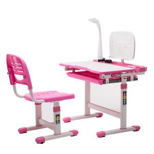 Details About Children S Study Desk Chair Set Adjustable Kids Table W Desk Lamp Pink