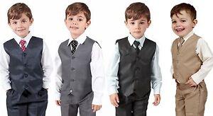 RAGAZZI-Abiti-gilet-in-4-Pezzi-Suit-Matrimonio-Paggio-BABY-formale-partito-4-colori