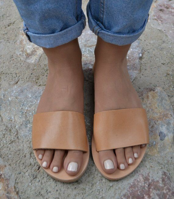 Ancient Greek style natural flat real leather slide sandals handmade minimalist