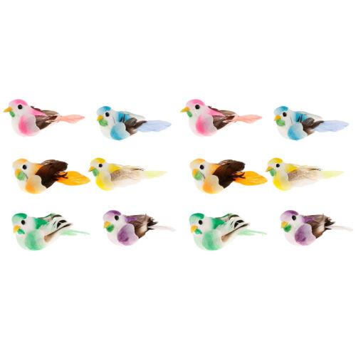 12Pcs Artificial Feather Garden Birds Wedding Flower Decor Foam Craft Bird