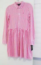 Ralph Lauren Girls Striped Interlock Shirtdress Pink Sz XL (16) - NWT