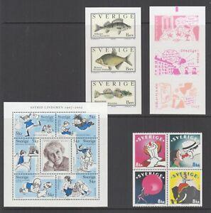 Sweden-Sc-2420-2429-2431-2439-MNH-2001-02-Booklet-panes-4-different-VF