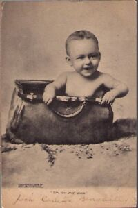 11w7-Postcard-Baby-in-Bag-I-m-On-My-Way