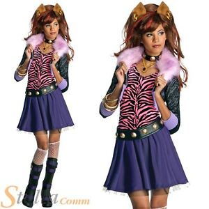 Image is loading Girls-Clawdeen-Wolf-Monster-High-Costume-Halloween-Fancy-  sc 1 st  eBay & Girls Clawdeen Wolf Monster High Costume Halloween Fancy Dress Child ...