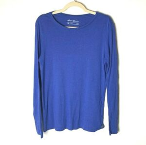 Eddie-Bauer-Outdoor-Women-039-s-Top-Size-Large-Blue-Long-Sleeves-100-Cotton-Casual