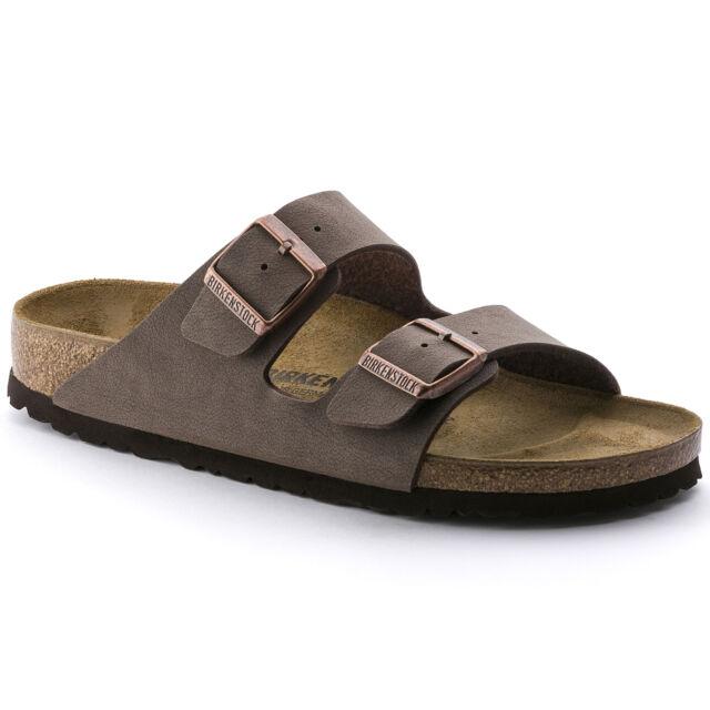 Birkenstock Women's Arizona 2-Strap Birkibuc Leather Regular Fit Sandals Mocca