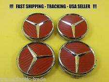 Center Wheel Cap Red Carbon Fit Mercedes Benz 75mm S-ML-GL-E-C USA Emblem Caps