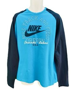 Nike-SPORTSWEAR-NSW-Track-and-Field-Langaermeliges-Retro-Baumwolle-Tee-Shirt-Blau-XL