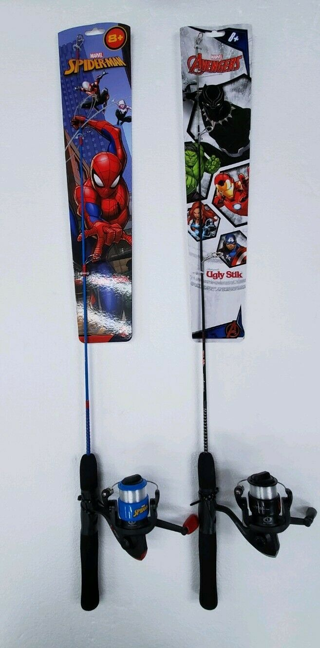 Marvel x Shakespeare Ugly Stik -Youth Fishing pole and reel Combo Lot 2