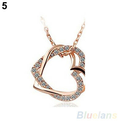 Charming Silver Plated 2 Heart Crystal Pendant Necklace Long Chain Fashion B54U