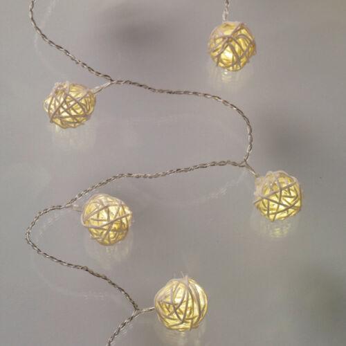 16er LED Rattan-Ball Lichterkette Warmweiß Holz Deko Beleuchtung Strom Innen