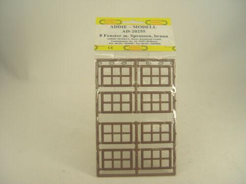 8 Stck Fenster m Sprossen Addie  Bausatz  Spur 0-1:43-20255 gebr.