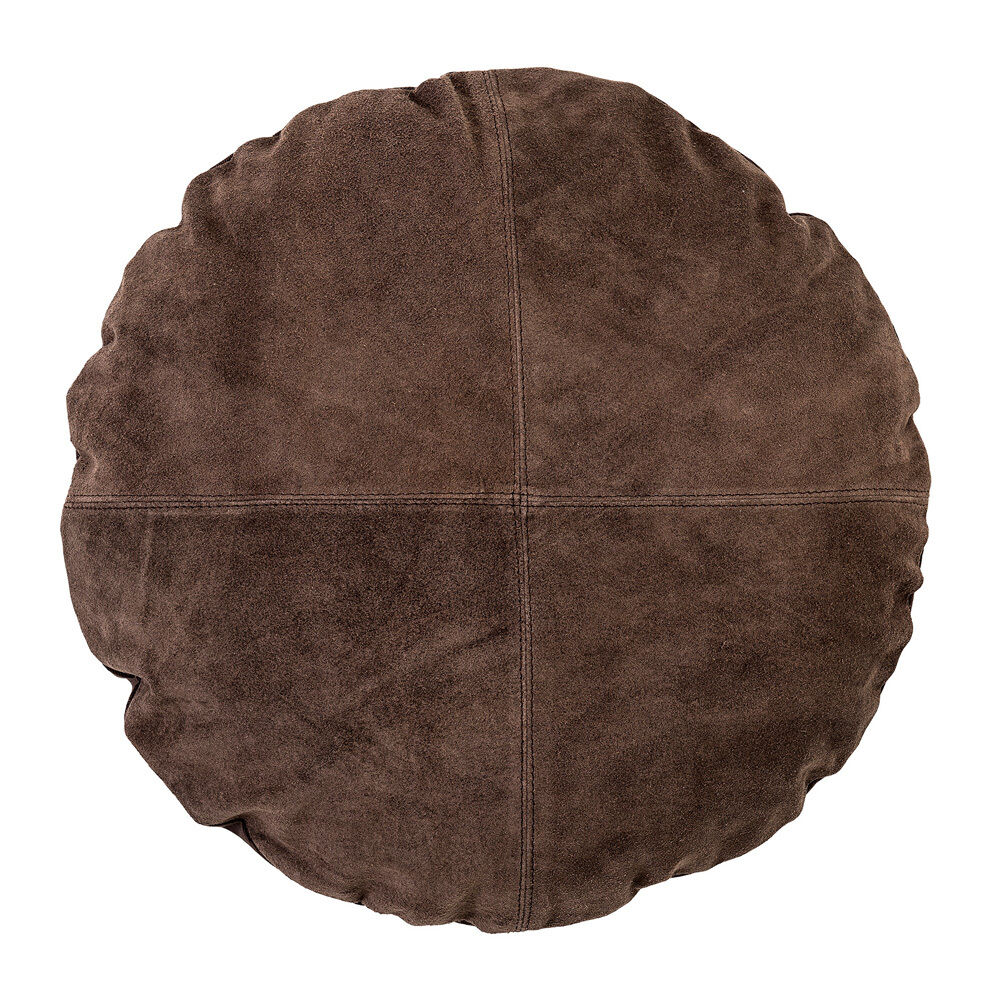 Bloomingville cuscino in pelle scamosciata Marroneee tondo 45cm