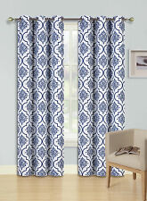 2 GROMMET PRINTED PANEL 2 TONE FOAM LINED BLACKOUT WINDOW CURTAIN LANA NAVY 84""
