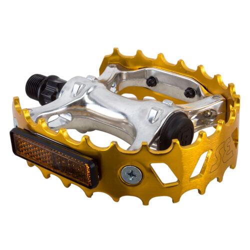 Se Bikes Bear Trap Bicycle Bike Pedals 9//16` Silver//Gold Alloy