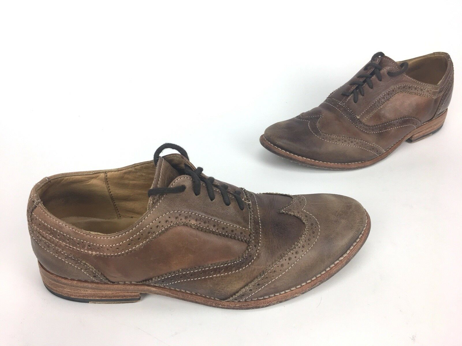 Men's Bed-Stu Genuine Brown Leather Wing Tip Oxfords SZ Unknown- See Pictures