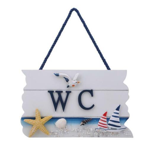 Hanging Door WC Toilet Sign Nautical Beach Themed Wooden Plaque Decor S3