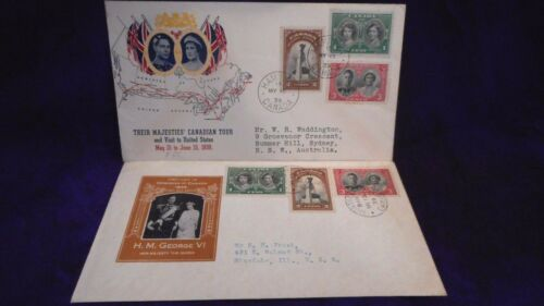 2- 1939 Canada Royal Visit King George V &Queen Elizabeth Cacheted FDC Sc 246-8
