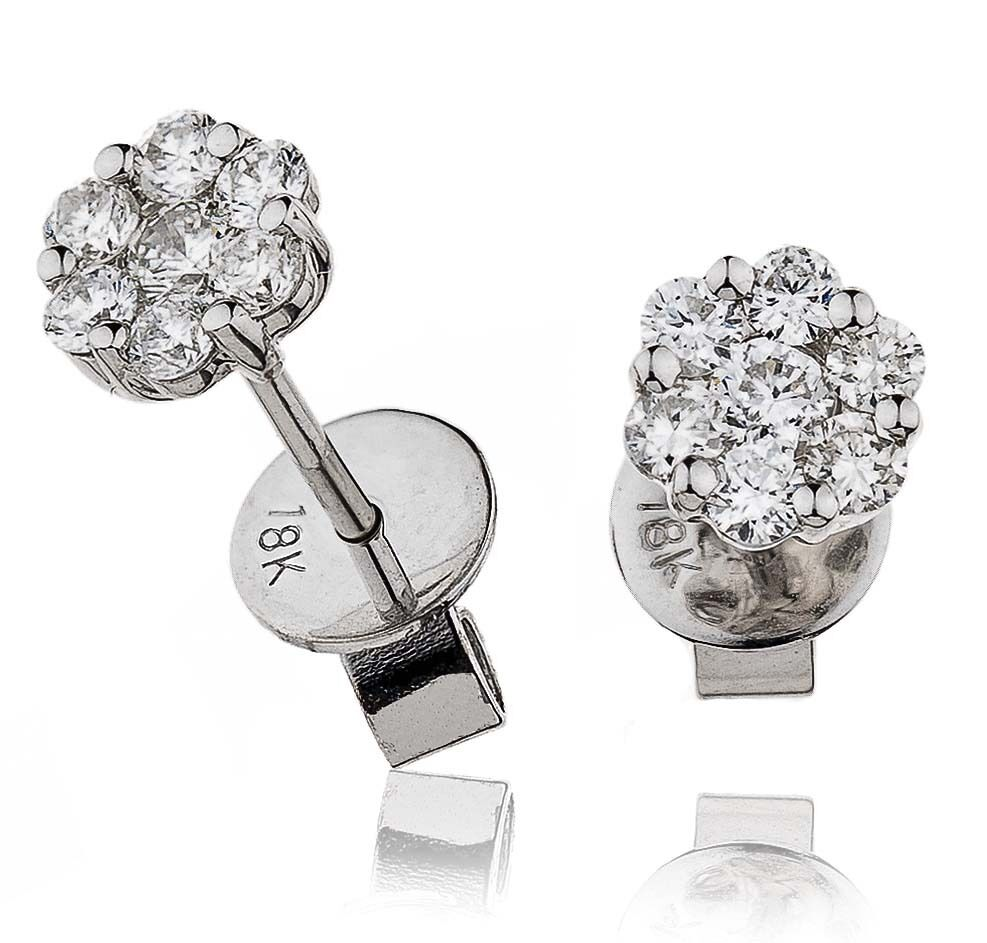 18ct white gold 0.50ct HSI1 diamond CLASSIC CLUSTER DAISY stud earrings GOY67