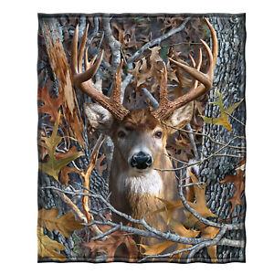 Dawhud Direct Camo Buck Deer Super Soft Plush Fleece Throw Blanket